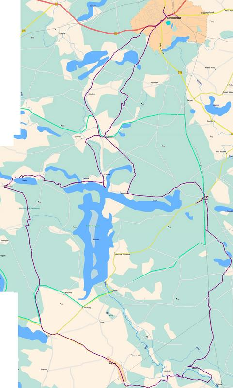 Przebieg trasy rowerowej ok.100km