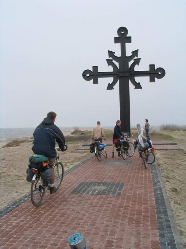 Rowerzyści na cyplu w Rewie