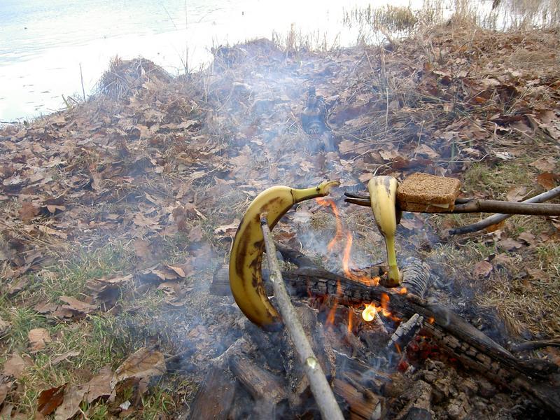 tosty z bananami na gorąco...
