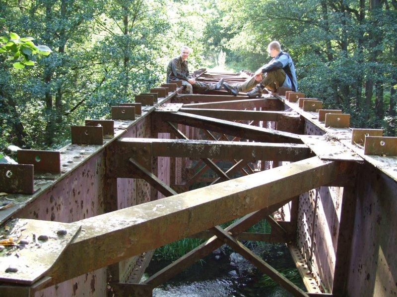 Dwóch oszołomów na nieczynnym moście kolejowym nad Pilicą - fot. Puszka